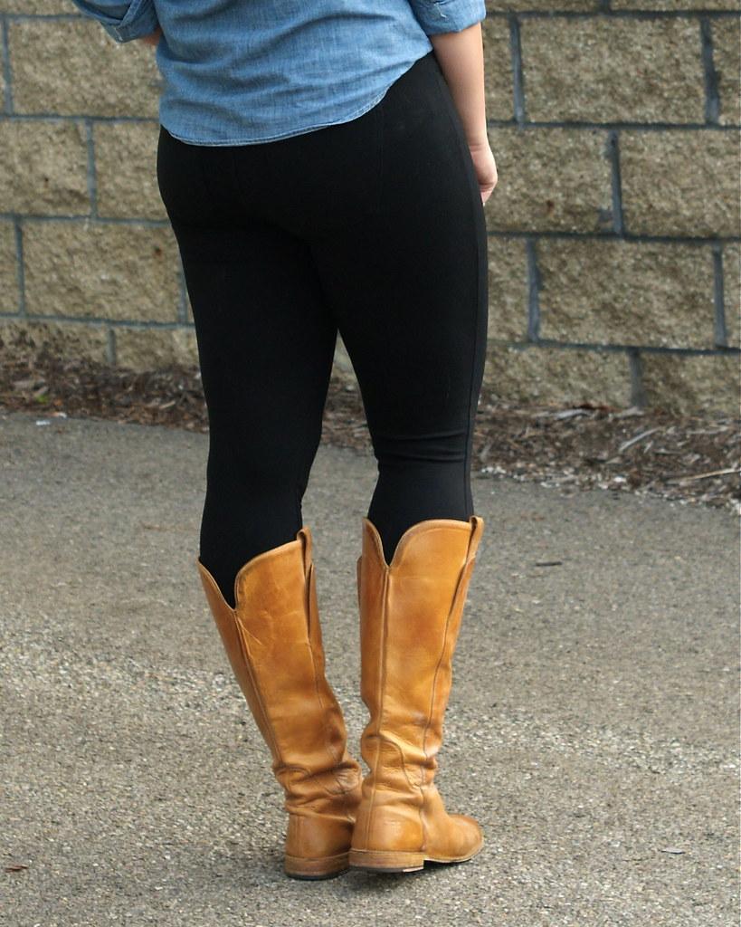 gap ponte legging jeans, frye paige boots