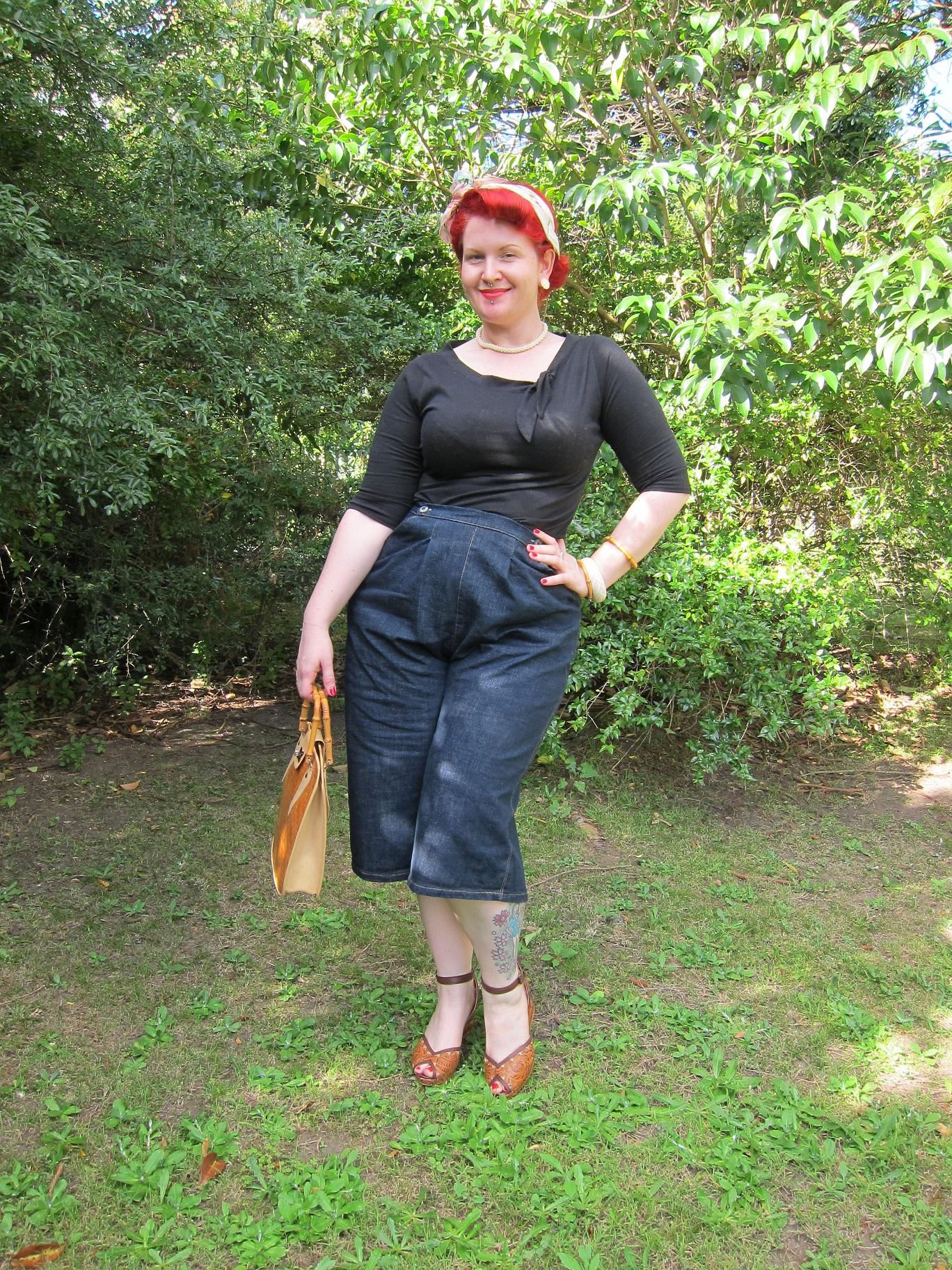 lesbian femme 1950s vintage clamdiggers capri pants denim miss l fire cane handbag tijuana plus size xl PUG
