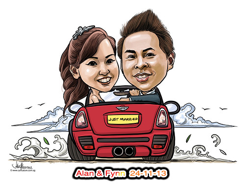 digital wedding couple caricatures on mini cooper convertible