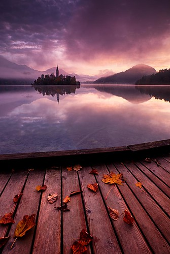 autumn lake mountains alps church leaves sunrise island dawn autumncolours slovenia lakebled julianalps canon6d connected2014