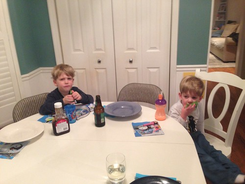 Matthew and Evan at Dinner Table
