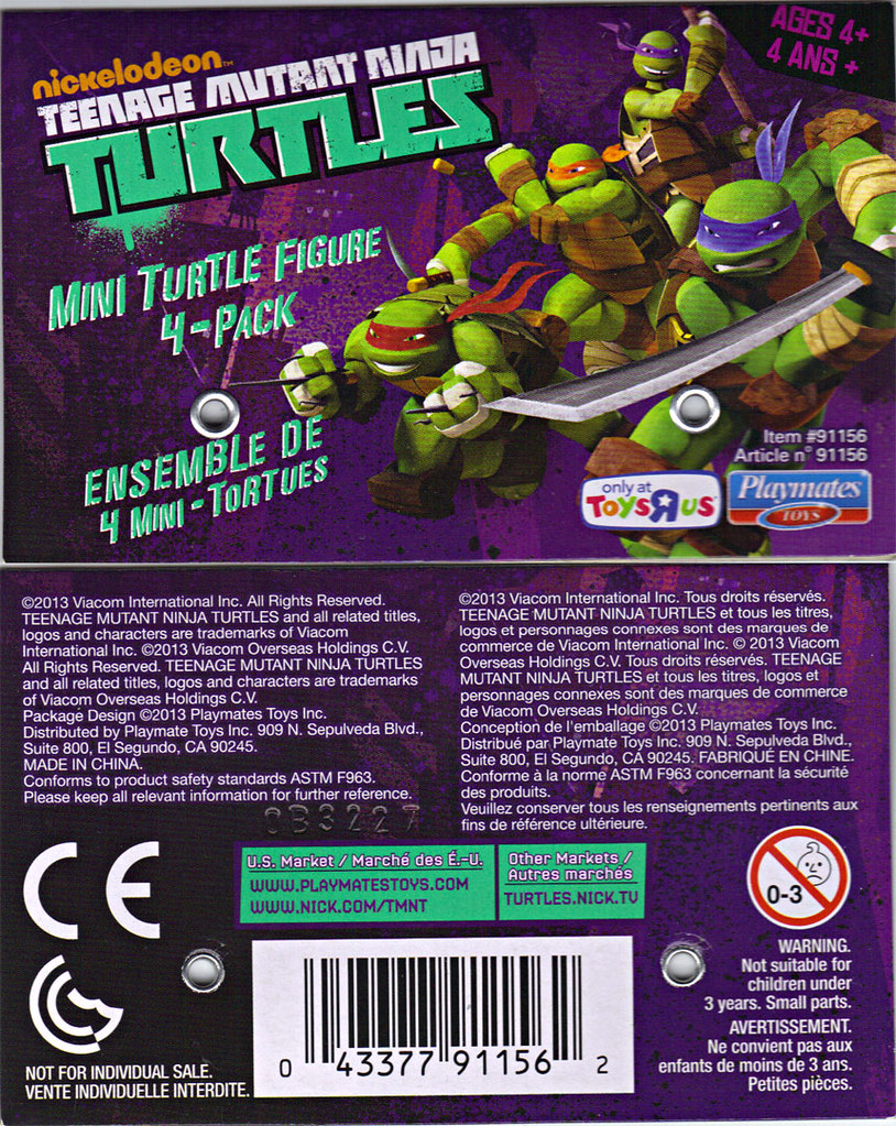 Nickelodeon TEENAGE MUTANT NINJA TURTLES :: MINI TURTLE FIGURE 4-PACK iii // ..card backer (( 2013 )) by tOkKa