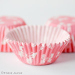 Pink butterfly print cupcake cases
