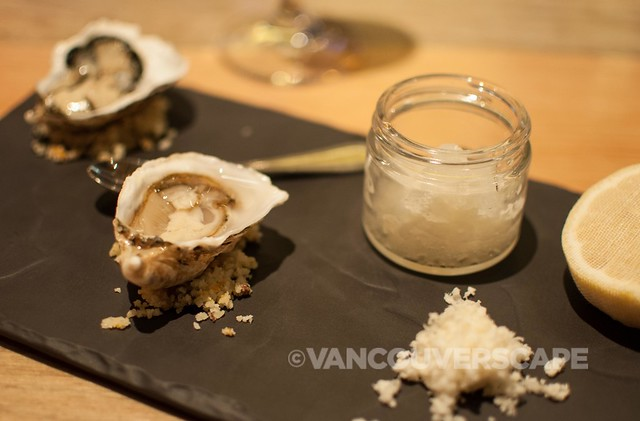 Kusshi oyster with verjus granite, lemon, horseradish