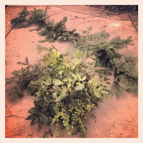 Making an evergreen garland for my front door