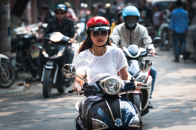 The Girl with the Red Helmet
