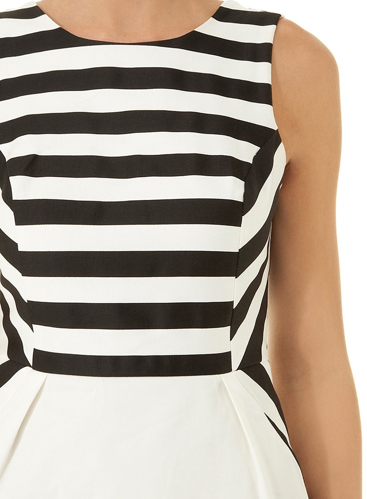 Luxe Mono stripe pencil dress