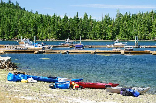 Kayaks being prepared for a trip to the Broken Group Islands in Barkley Sound, British Columbia