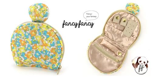 70.繽紛小花香水瓶造型隨身飾品袋-粉黃細節