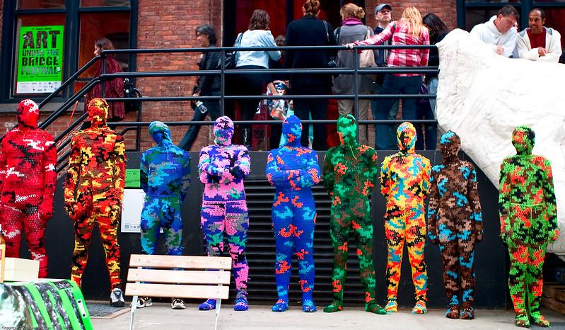 The Line Up / Wearable Sculptures: 100% Acrylic Art Guards by Agata Olek / Dumbo Arts Center: Art Under the Bridge Festival 2009 / 20090926.10D.54790.P1.L1.CC / SML