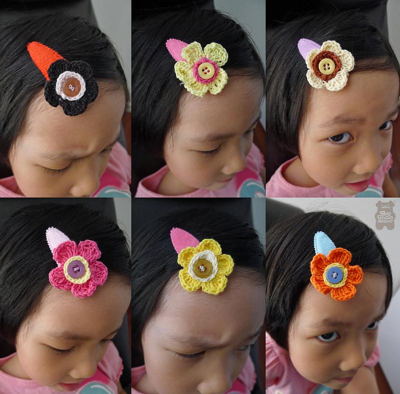 Spring bloom crochet clips