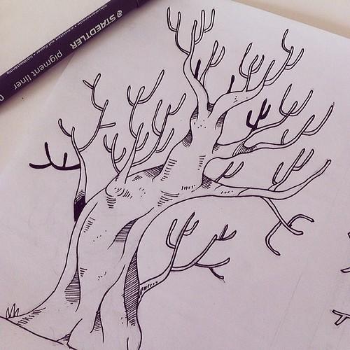 Somos fruto del árbol que quedó de pie. #illustrator #illustration #art #drawing #draw #ink #instagood #árbol #tree #sketchbook by Hiek