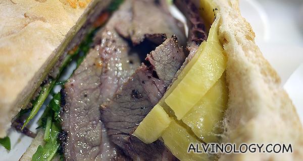 Inside of the beef brisket sandwich