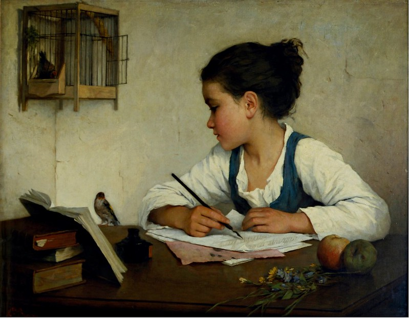 Henriette Browne - A Girl Writing; The Pet Goldfinch (c.1870)