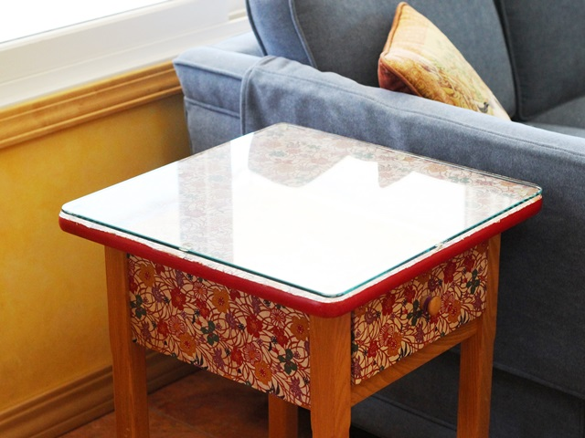 end table with glass top, Japanese floral paper, golden wood