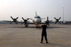 A U.S. Navy P-3C Orion from Patrol Squadron (VP) 46 prepares to depart Subang, Malaysia, March 11 in support of the search effort. (U.S. Navy)