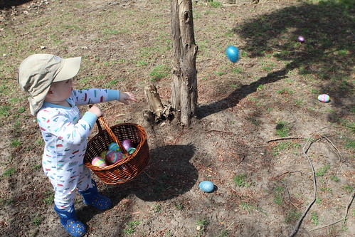 Elliott Throwing Back Easter Eggs