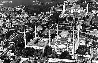 Turkey Istanbul blue mosque overview 1970's