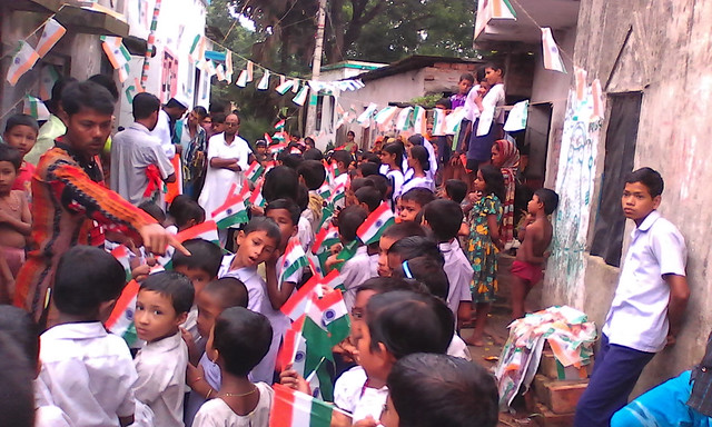 Students celebrating Republic day.