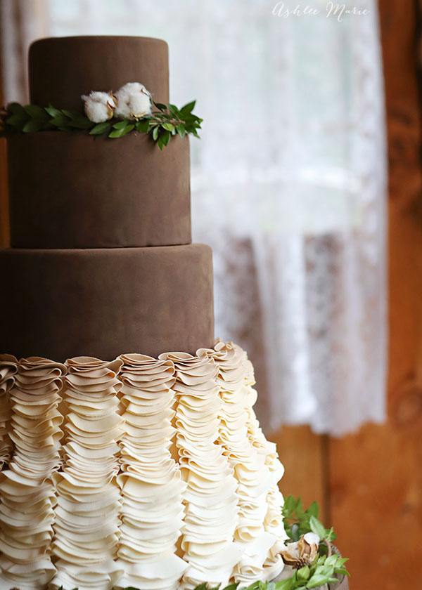 layers of soft velvety chocolate over ombre ruffles creates a stunning cake