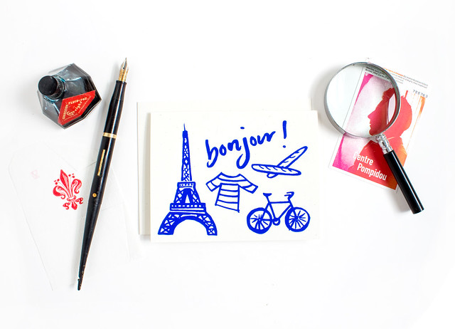 Bonjour! hand screen printed illustrated card by Vitamini