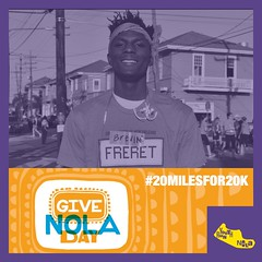 Support young runners like Brevin for #GiveNOLA. Let's raise #20milesfor20k Donate today:https://t.co/Vqch1zX3Yb https://t.co/e8pnQNuxfa