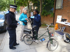 Jean getting her new bike marked