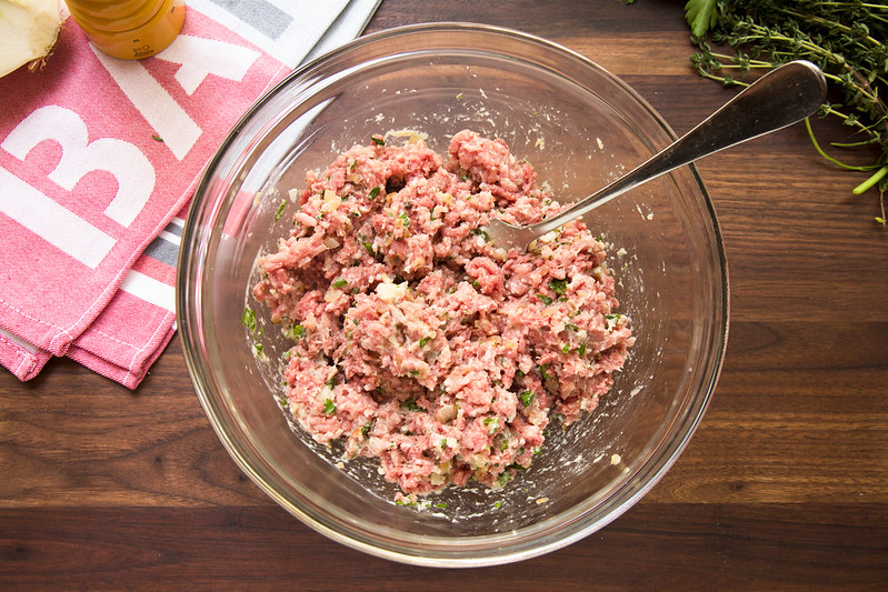 ground beef and pork