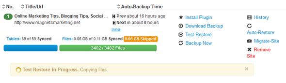 BlogVault WordPress Backup Test Restore