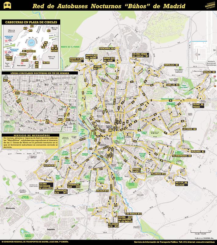 Mapa Autocarro/onibus Noite em Madrid