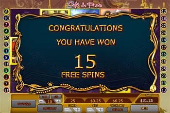free Café de Paris slot Free Spins Feature