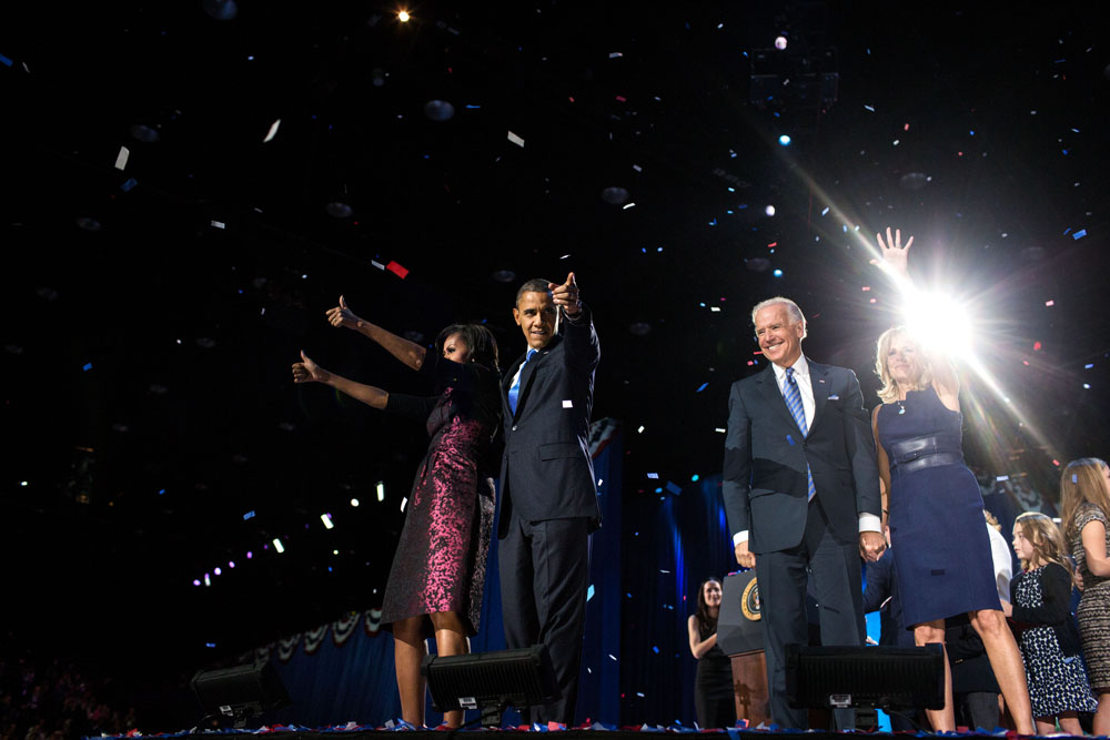 Obamas and Bidens celebrate re-election