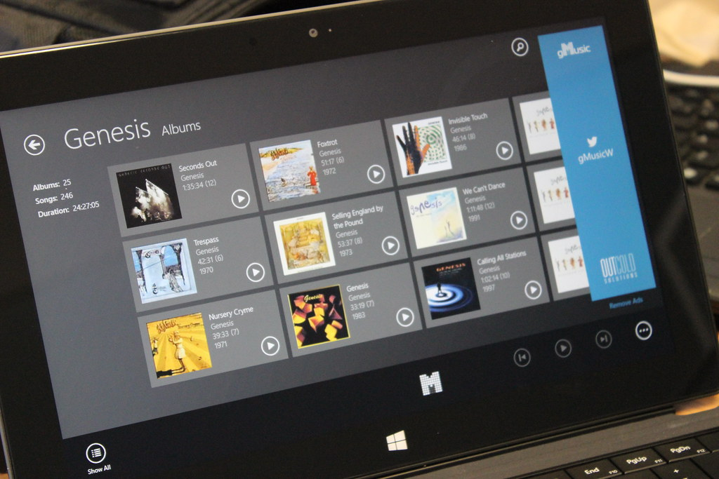 gMusic on a Surface RT