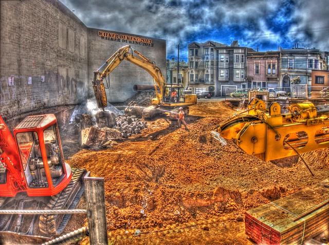 Dirt/Water Spray/Equipment/Rocks Deconstruction Site HDR