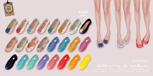 NuDoLu Ballerines de couleurs gacha AD