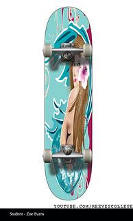 Skateboard Deck Design Adobe Illustrator CS6 by Reeves College Student Zoe E