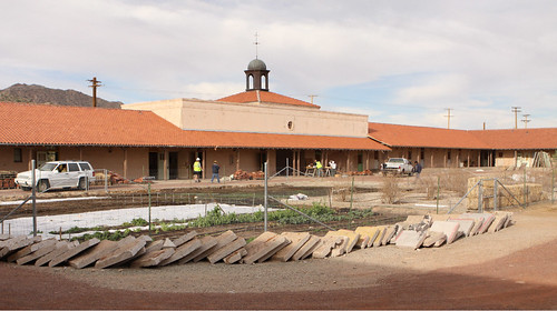 Construction continues at the Sonoran Desert Retreat Center in Ajo, Arizona which was a recent recipient of an ArtPlace grant from national foundations.  USDA has also provided funding to the Center over the years, including a community facility grant for the courtyard garden in foreground. Photo courtesy of Tracy Taft.