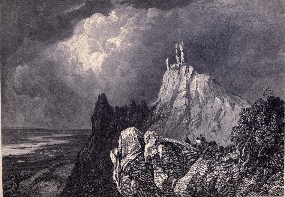 12. Majestuosas ruinas de un castillo del Rin. El Drachenfels. Boceto de Clarkson Stanfield. 1833. Autor, Ayacata7