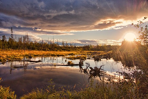 sunset clouds day maine swamp lilybay mooseheadlakeregion