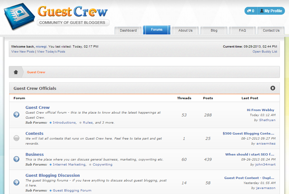 Guest Crew has a very active forum for bloggers