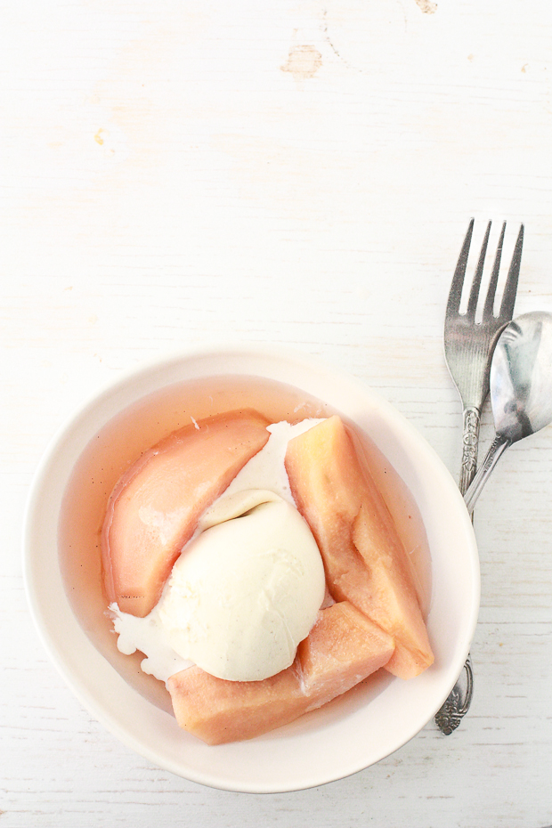 poached quince with vanilla ice cream | kitchen heals soul