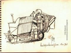 Landtechnik, Landmaschinen, Kartoffelrodemaschine, um 1965, Zeichnung auf Papier