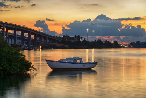 boat centralflorida cloud cocoa dawn florida landscape longexposure lowlight river sky sunrise usa water watercraft weather bridge cloudy day edrosackcom
