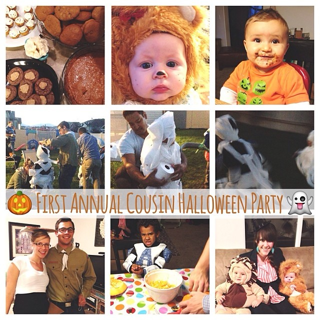 The First Annual Cousin Halloween party is in the books! {Chili. Pumpkin treats. Cider. Costumes. Mummy racing. Pumpkin carving. Darlingness.} Happy First Halloween, RJ!