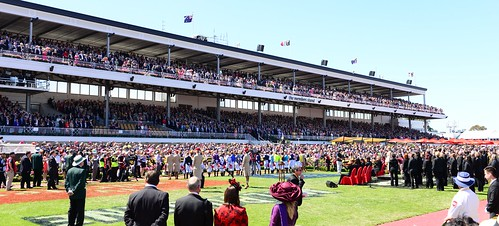 All standing for the National Anthem of Australia - 2013 Melbourne Cup