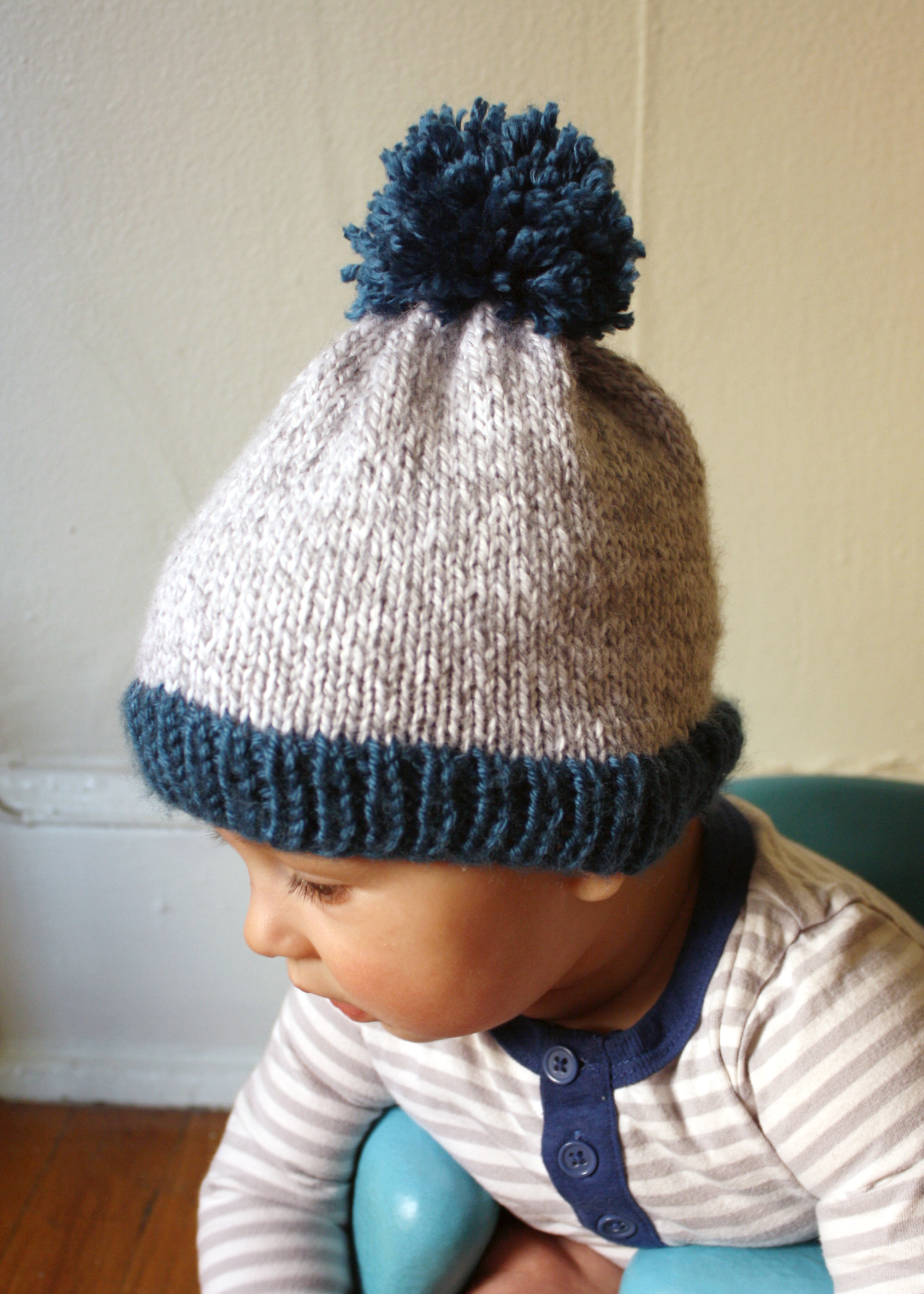 Pom Pom Beanie Knitting Pattern : michael ann made.: Big Pom Baby Beanie - Now With Free PDF Pattern!
