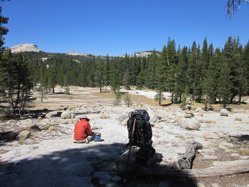 Our last sit-down snack of the trek as we rest along the PCT in lower Tuolumne Meadows