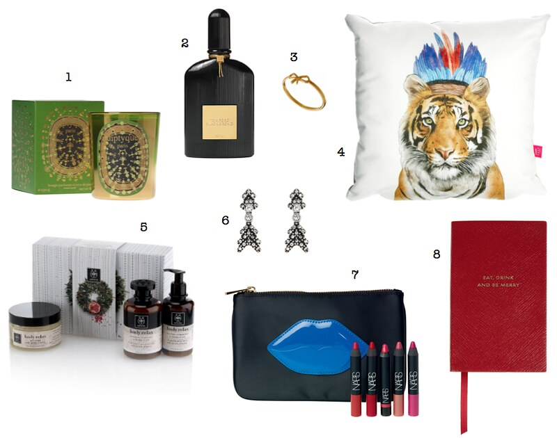 Christmas gift guide under £50 Smythson Tom Ford Diptyque Apivita Whistles