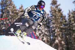 Brady Leman tackles the course during training at the FIS Ski Cross World Cup in Nakiska, CAN