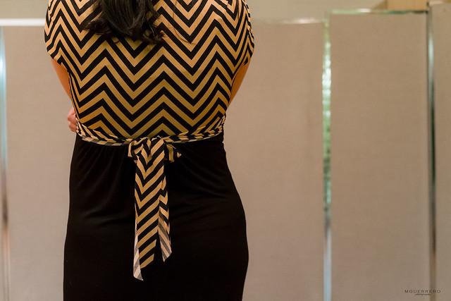 Mocha Chevron Maternity maxi bow tie
